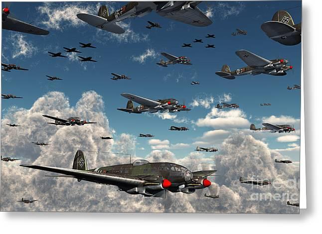 German Heinkel He 111 Bombers Gather Greeting Card