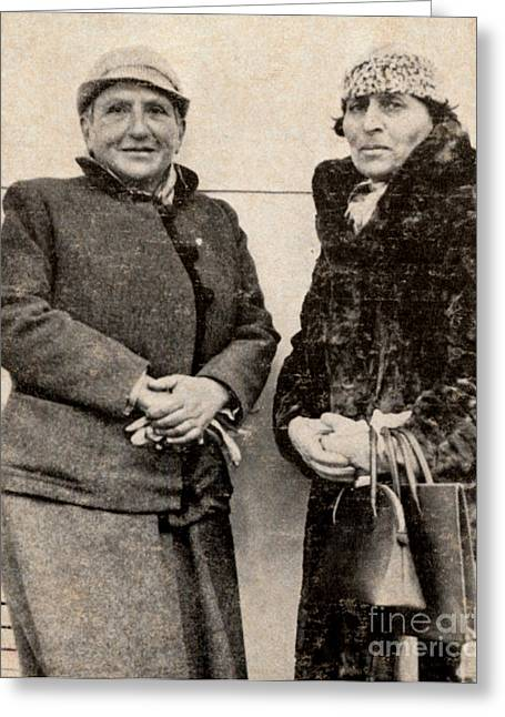 Gertrude Stein And Alice B. Toklas Greeting Card by Photo Researchers