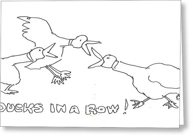Getting In A Row Greeting Card by Roger Swezey