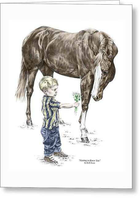 Getting To Know You - Boy And Horse Print Color Tinted Greeting Card by Kelli Swan
