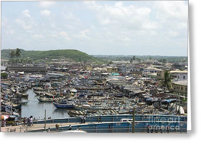Ghana Fishermen Sea Scape  Greeting Card by Cherie Richardson