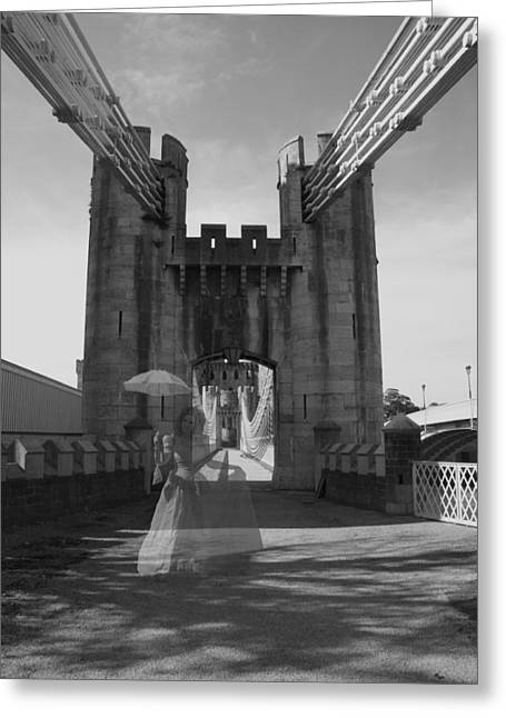 Ghost Bridge Black And White Greeting Card by Christopher Rowlands