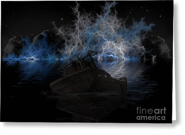Ghost Ship Greeting Card by Steev Stamford