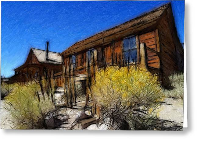 Ghost Town Bodie Pastel Greeting Card by Steve K