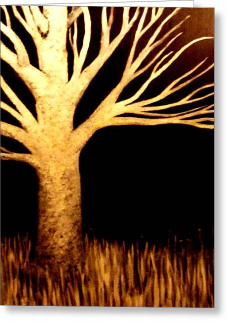 Greeting Card featuring the painting Ghost Tree by Monica Furlow