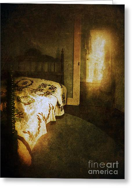 Ghostly Figure In Hallway Greeting Card by Jill Battaglia