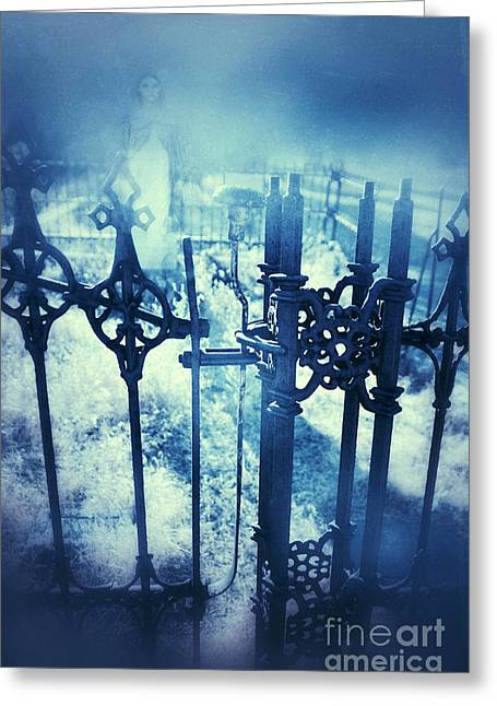 Ghostly Woman In The Cemetery Greeting Card by Jill Battaglia