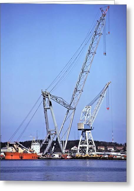 Giant Crane Greeting Card by Rod Jones