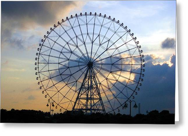 Giant Ferris Wheel At Sunset Greeting Card by Paul Van Scott