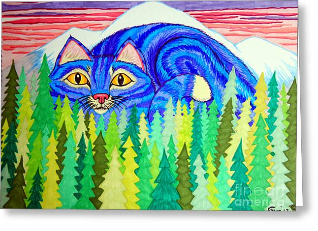 Giant Purple Striped Cat  Greeting Card