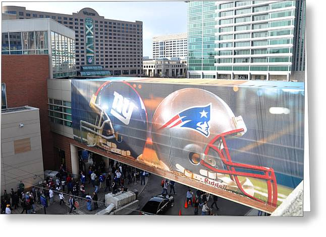 Giants Vs Patriots  Greeting Card by Brittany H