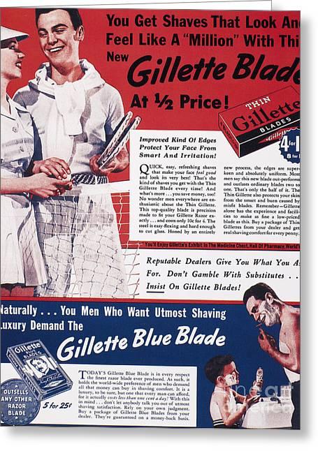 Gillette Razor Ad, 1939 Greeting Card by Granger