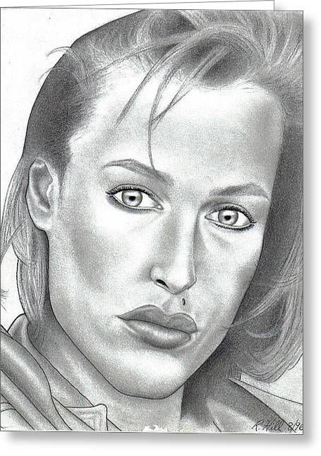 Gillian Anderson Greeting Card by Rick Hill