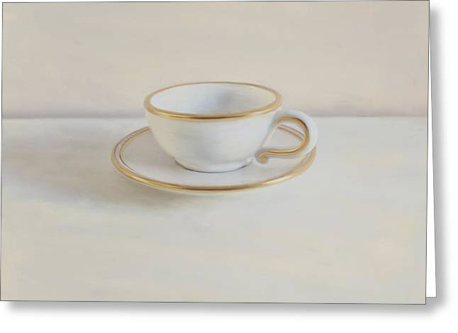 Gilt Cup On White Marble Greeting Card by Paul Grand