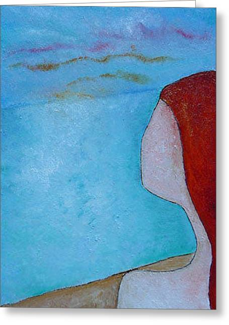 Greeting Card featuring the painting Ginger Hair Girl Looking by Gioia Albano