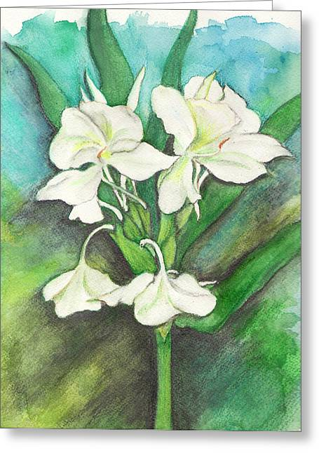 Greeting Card featuring the painting Ginger Lilies by Carla Parris