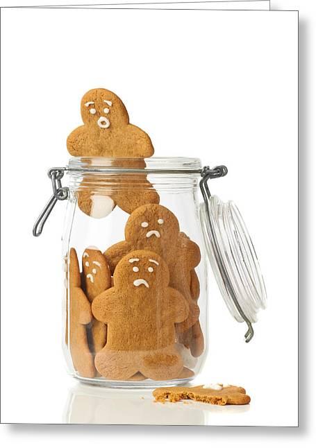 Gingerbread Men Escape Greeting Card by Amanda Elwell