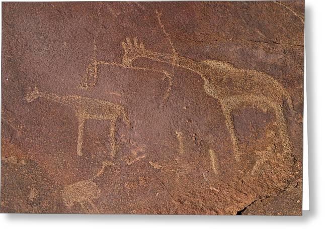 Giraffe Petroglyphs Namibia Greeting Card
