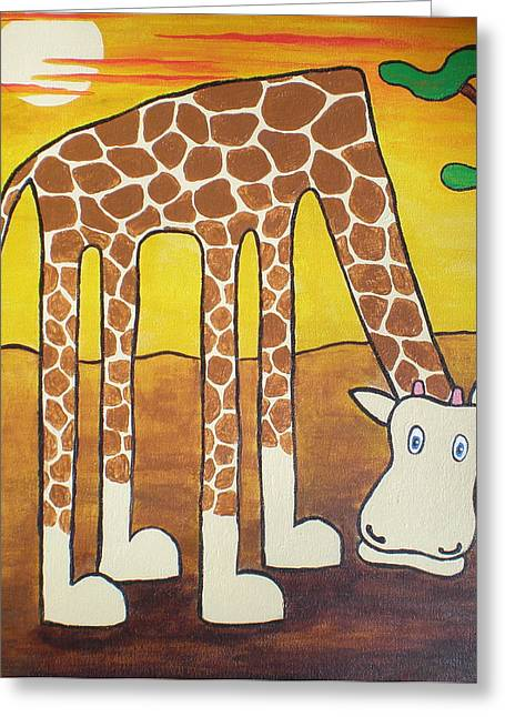 Giraffe Greeting Card by Sheep McTavish