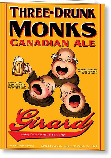 Girard Three Drunk Monks Greeting Card by John OBrien
