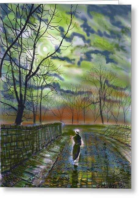Girl By Moonlight Greeting Card