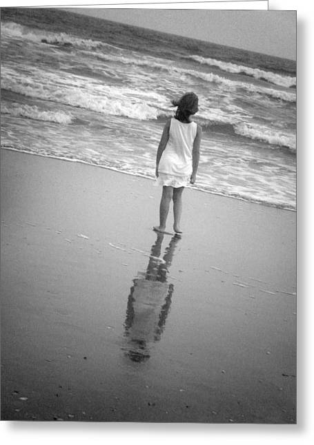 Girl By Ocean Greeting Card