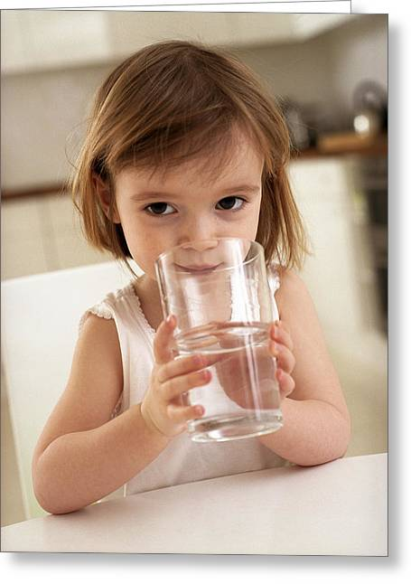Girl Drinking Water Greeting Card by Ian Boddy
