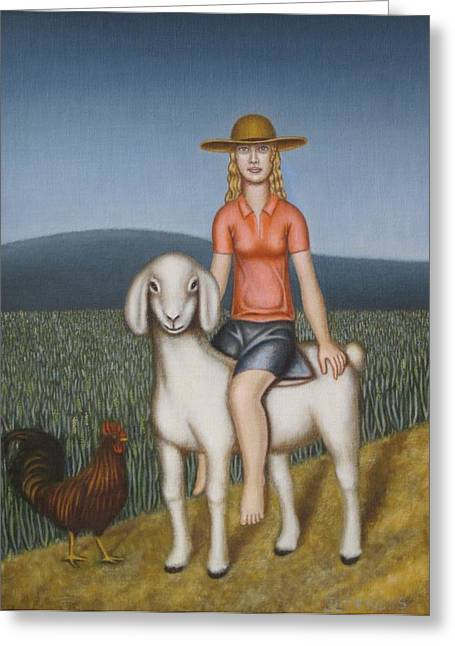 Girl Goat And Chicken Greeting Card by Thomas Jeffreys