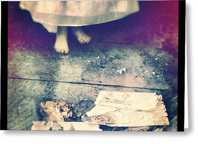 Girl In Abandoned Room Greeting Card by Jill Battaglia