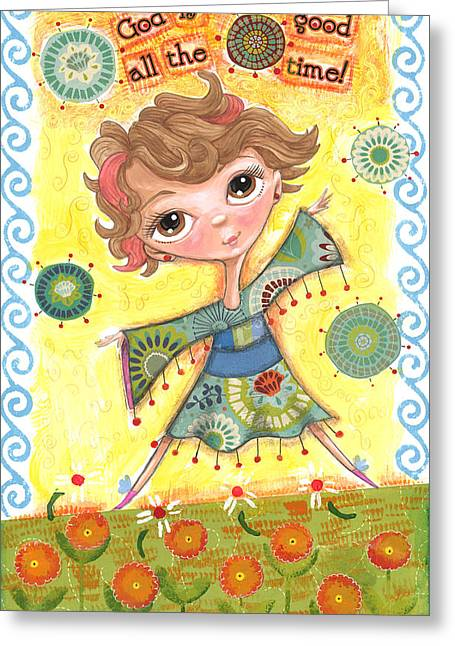 Girl In Field Of Flowers Greeting Card by Jacquelin Vanderwood