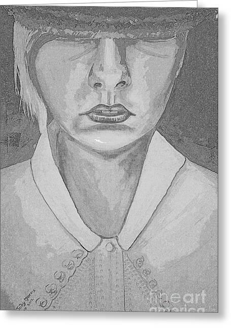 Girl In Hat Shady Grey Greeting Card