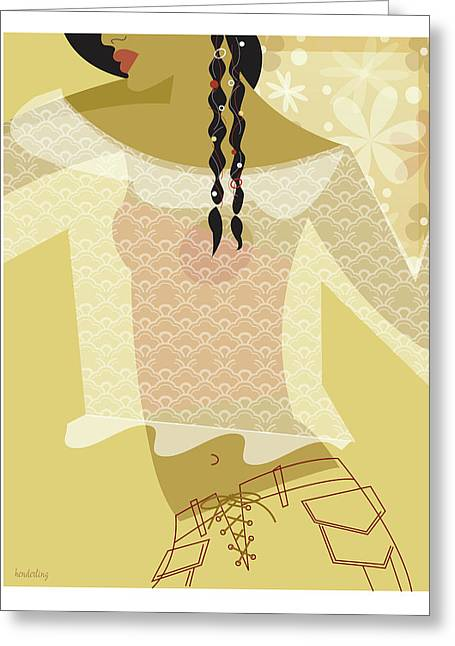 Girl In Lace Greeting Card
