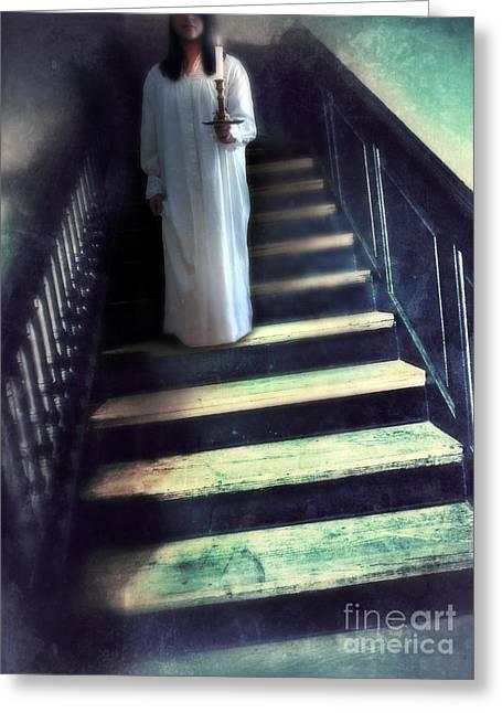 Girl In Nightgown On Steps Greeting Card by Jill Battaglia