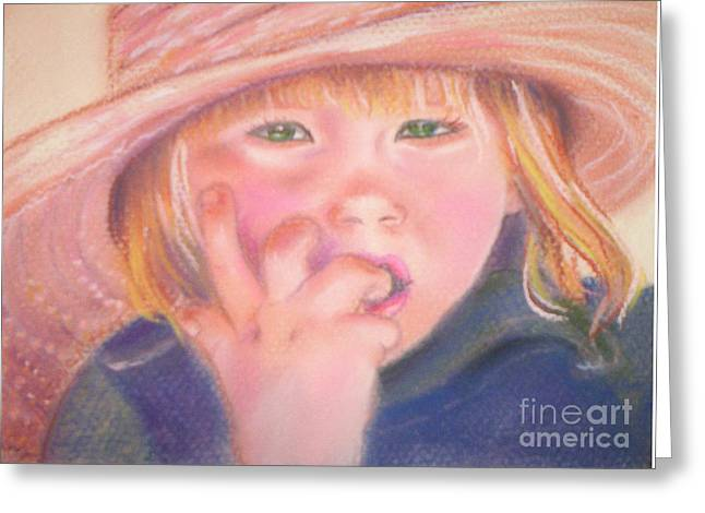 Girl In Straw Hat Greeting Card by Julie Brugh Riffey