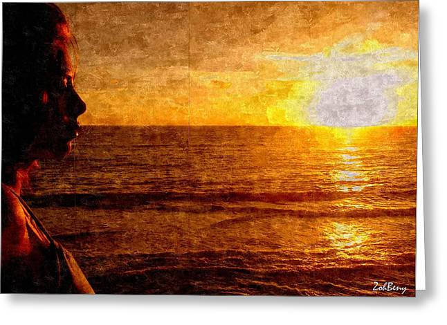 Girl In The Sunset Painting Greeting Card by Zoh Beny
