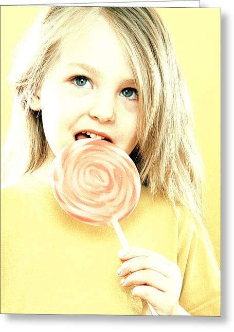 Girl Licking A Lollipop Greeting Card by Kevin Curtis