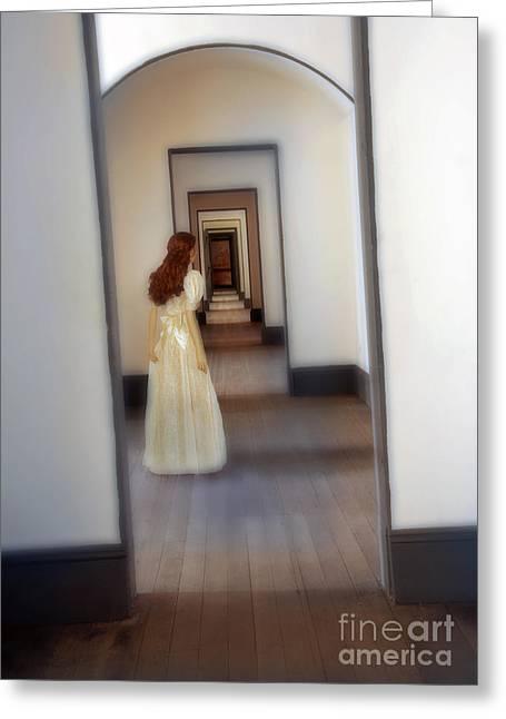Girl Looking Down Hallway With Multiple Doorways Greeting Card by Jill Battaglia