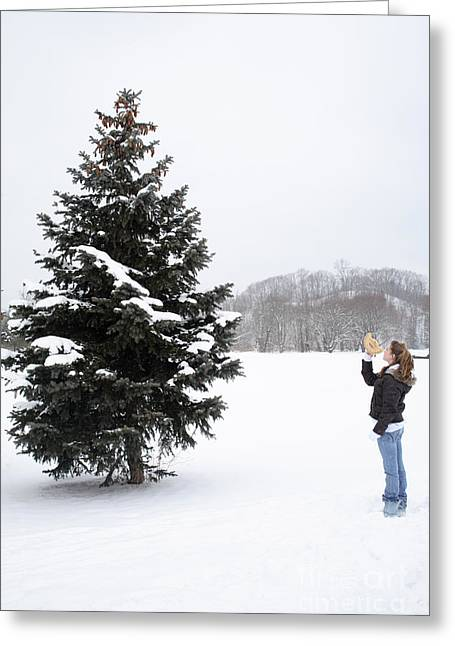 Girl Measuring Tree Height Greeting Card by Ted Kinsman