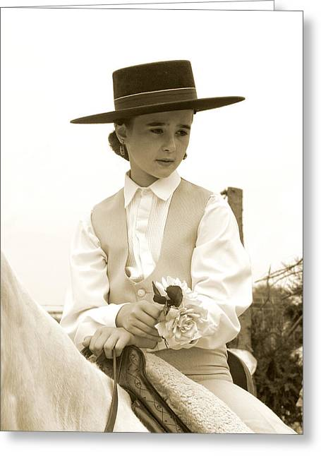Girl On Horse Greeting Card by Perry Van Munster