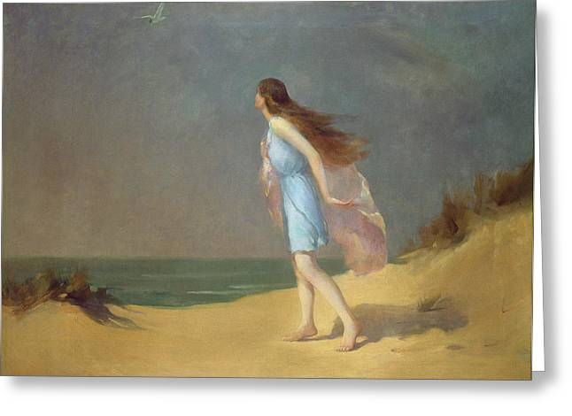Girl On The Beach  Greeting Card by Frank Richards