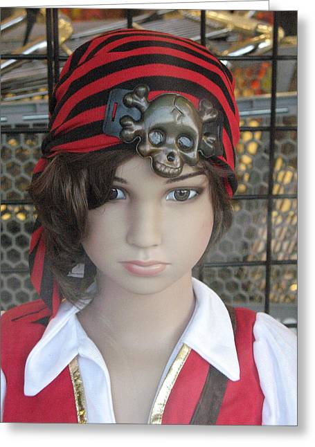 Girl Pirate Mannequin Face Portrait Greeting Card by Kathy Fornal