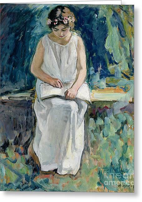 Girl Reading Greeting Card by Henri Lebasque