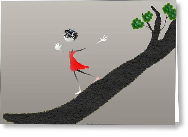Greeting Card featuring the digital art Girl Running Down A Tree by Asok Mukhopadhyay