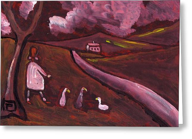 Girl Walking With Geese Greeting Card by Peter  McPartlin