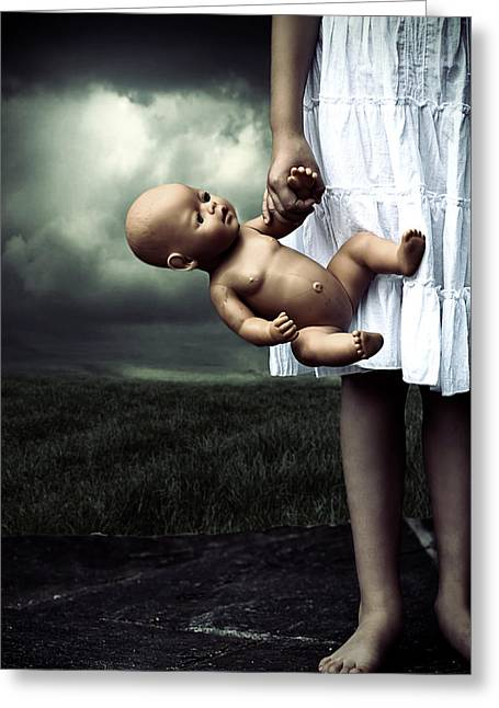 Girl With A Baby Doll Greeting Card by Joana Kruse