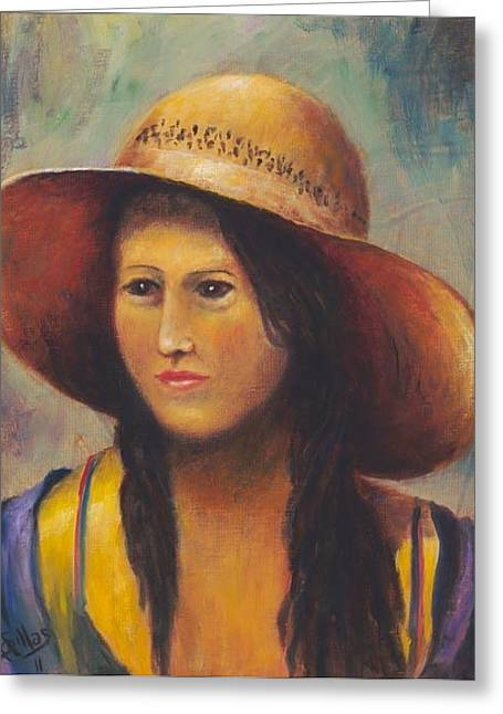 Girl With A Bonnet Greeting Card by Herman Sillas