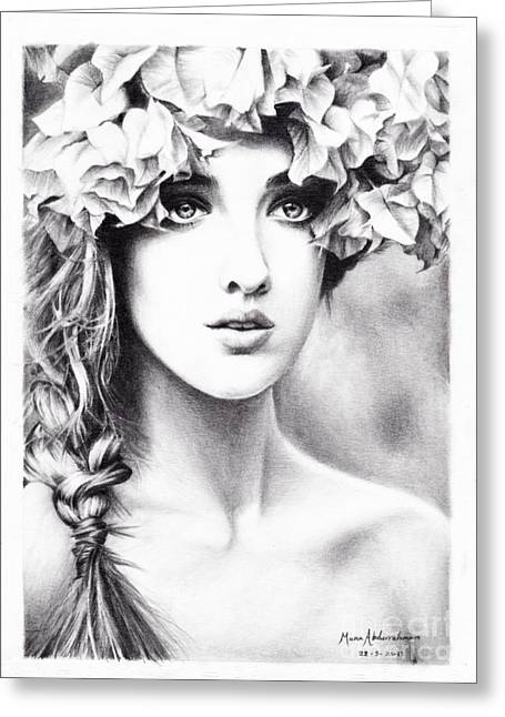 Girl With A Floral Crown Greeting Card by Muna Abdurrahman