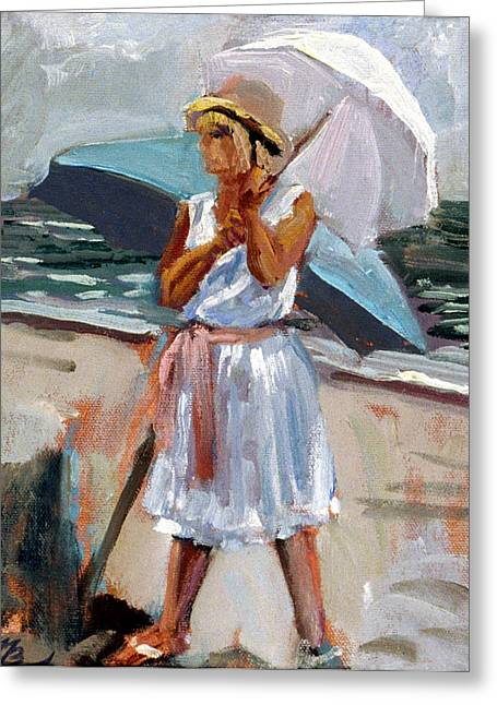 Girl With A Parisol Greeting Card by Mark Lunde