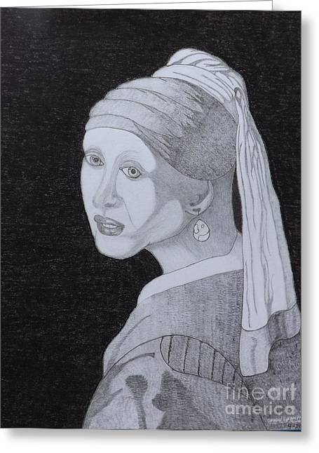 Greeting Card featuring the drawing Girl With A Pearl Earring by Gerald Strine