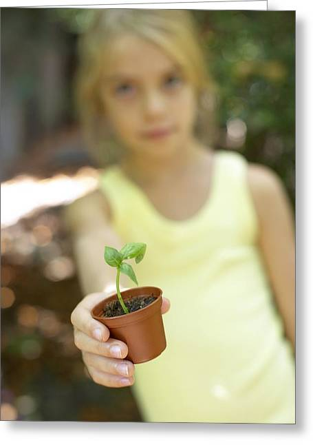 Girl With A Pot Plant Greeting Card by Ian Boddy